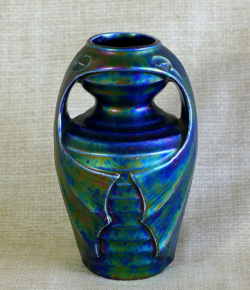 Rare Circa 1890 Art Nouveau Bat Wing Pottery Vase
