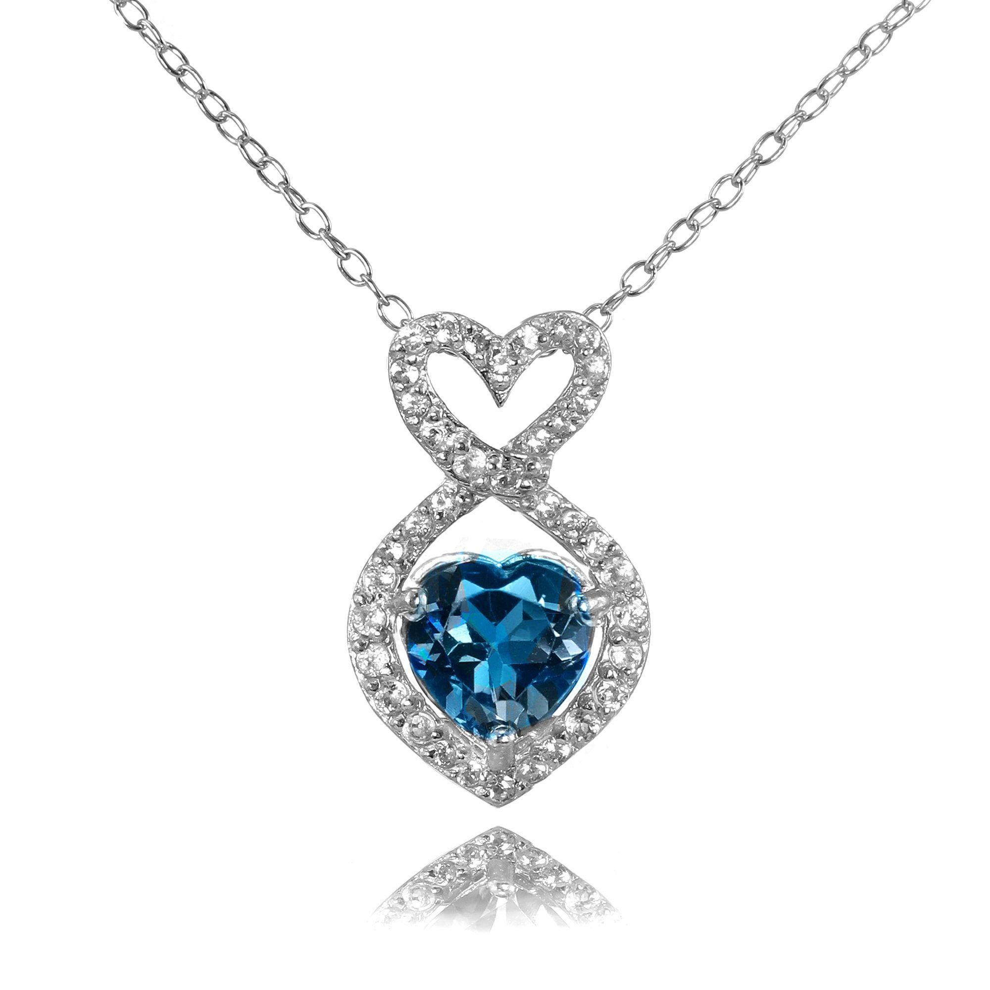 6mm London Blue Topaz London Blue Topaz Infinity Heart Pendant with Diamonds