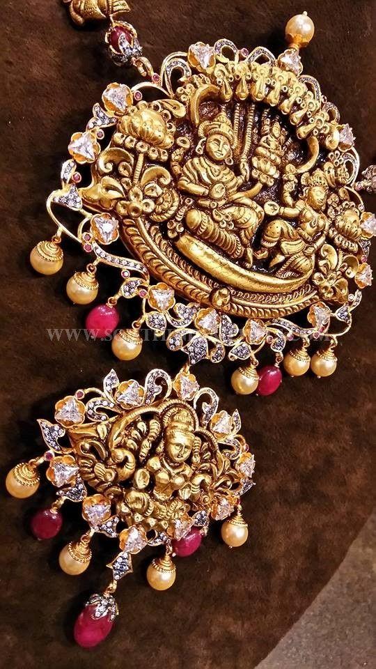 Gold diamond temple pendant design temple pendants and diamond mozeypictures Choice Image