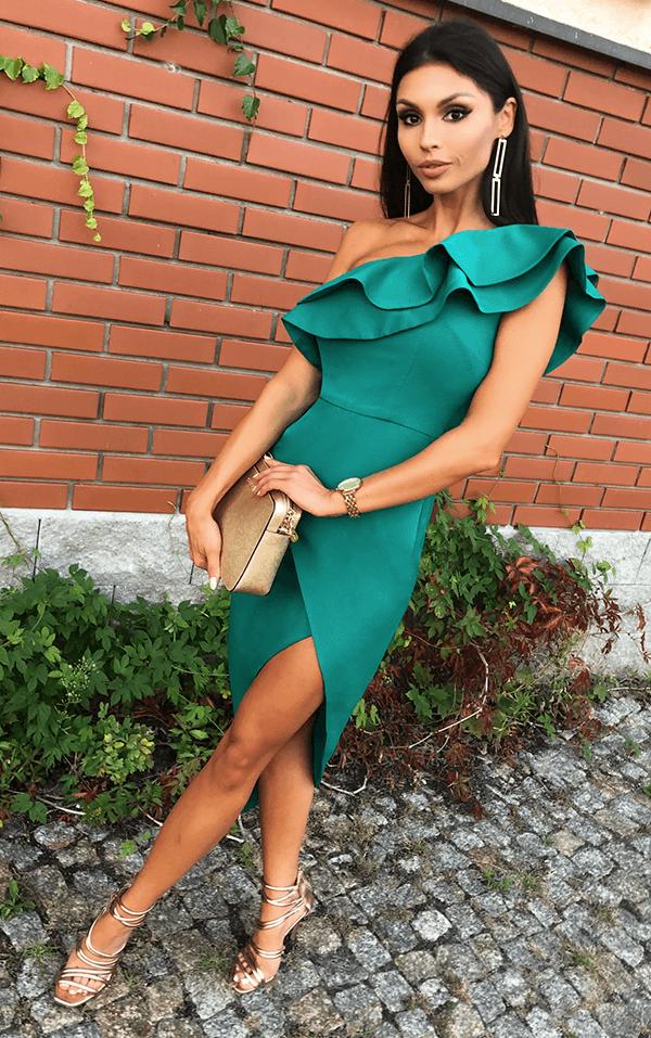 35b9fc8451 Butelkowo zielona asymetryczna AGNES  3 Idealna sukienka na wesele  sukienka   wesele  zabawa  wedding
