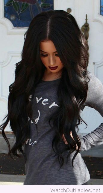 Long Black Curly Hair With Dark Make Up Curly Hair Tips Long Hair Styles Hair Styles Black Curly Hair