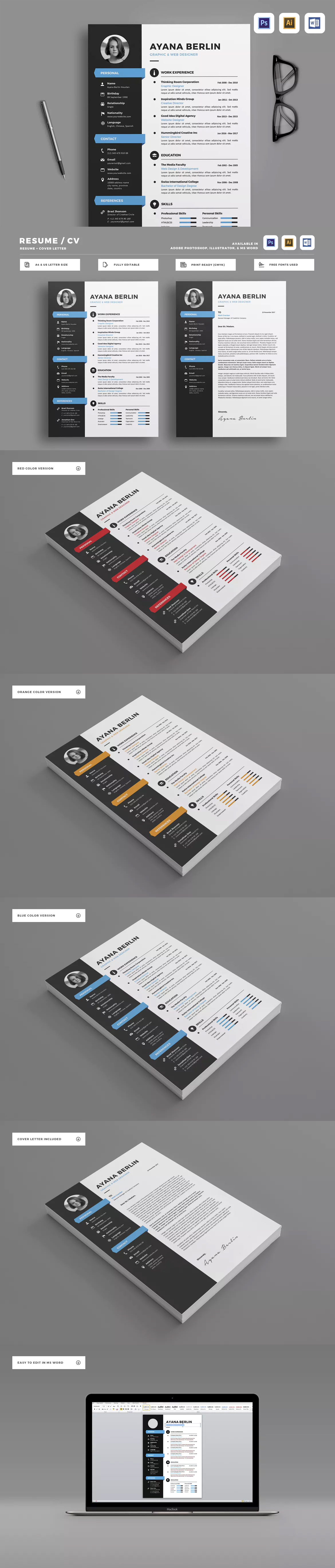 Resume Template Ai Eps Psd Ms Word  A  Us Letter Size