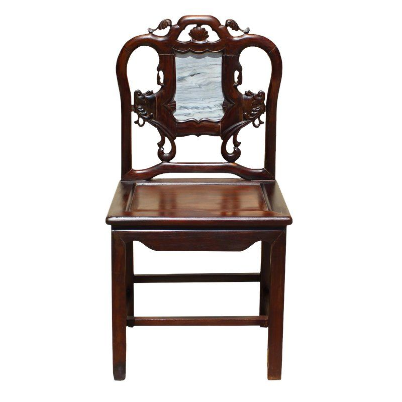 Vintage Chinese Rosewood Dream Stone Accent Chair Antique