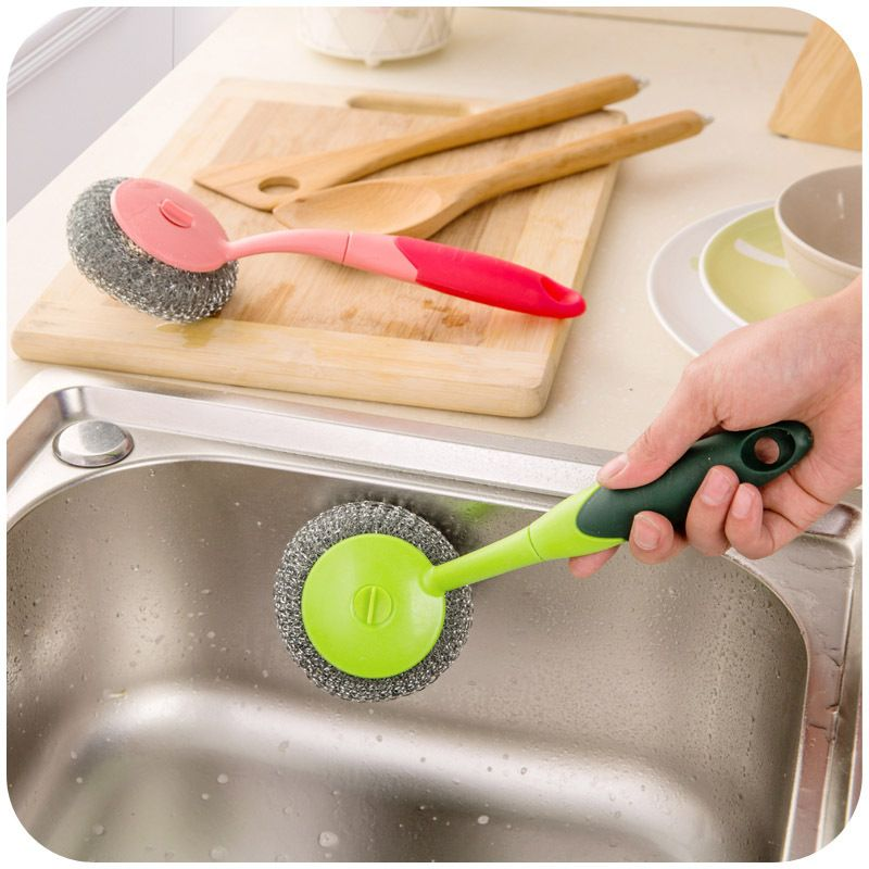 Color With Long Handle Brush Steel Ball Can Be Hanging Kitchen