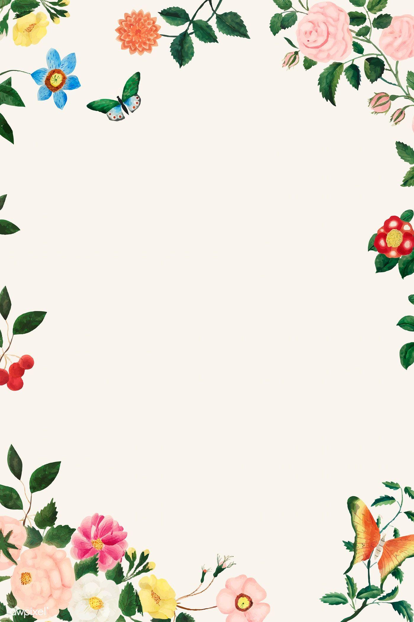 Download Premium Vector Of Vintage Floral Frame Illustration Vector 2208727 In 2020 Vintage Floral Backgrounds Flower Illustration Floral Cards Design