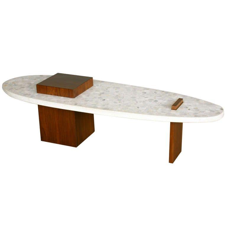 "Terrazzo ""SURFBOARD"" coffee table by Harvey Probber 1950s"