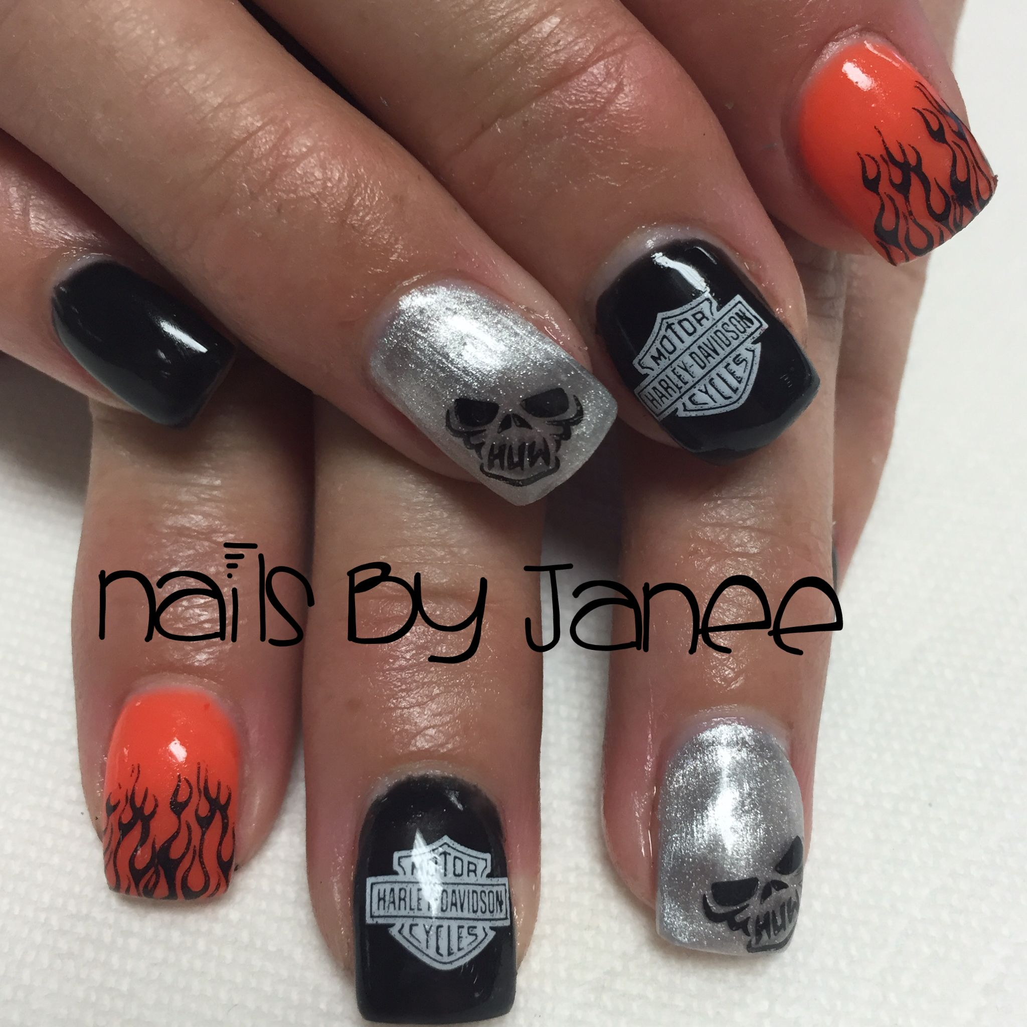 Harley Davidson Nails By Janee With Images Nails Beach Nails Beach Nail Designs