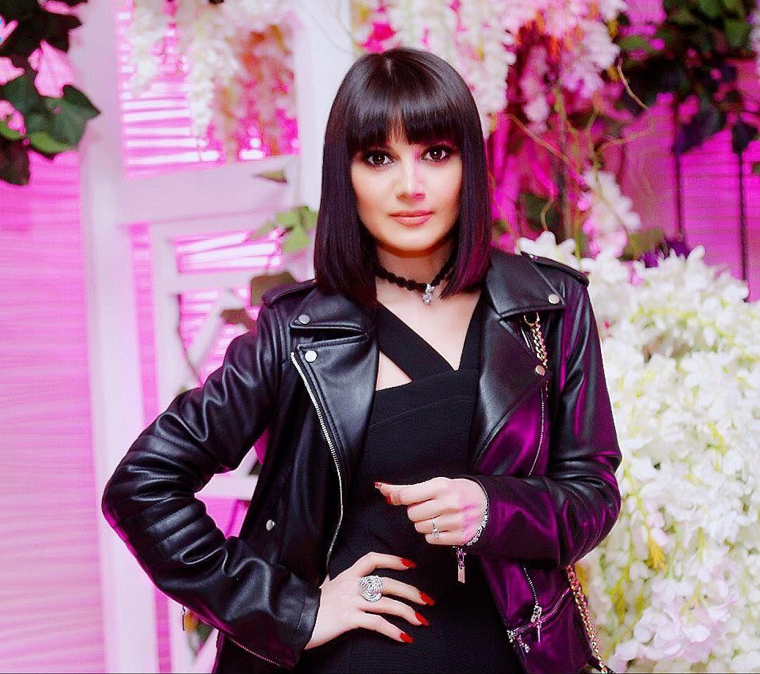 Natavan Habibi Singer Azerbaijan Fashion Red Leather Jacket Red Leather