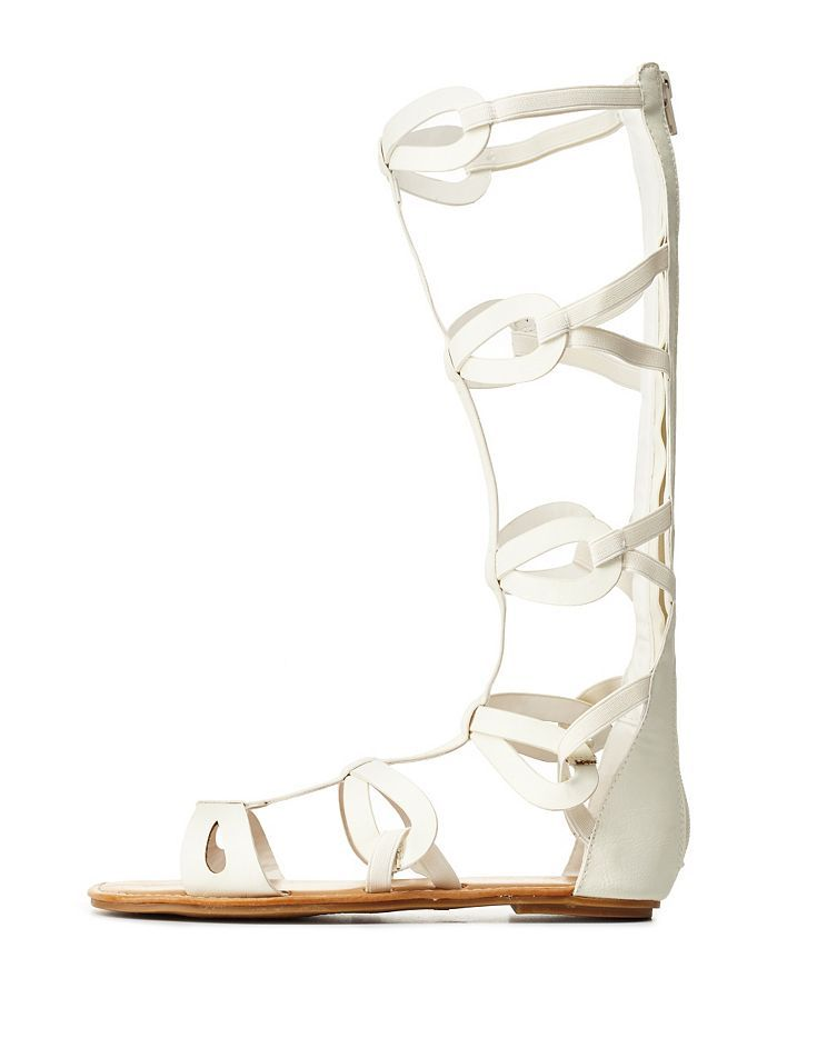 4432116808d3 Bamboo Looped Tall Gladiator Sandals by Bamboo at Charlotte Russe - White