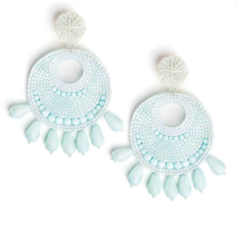 Turquoise Fully Beaded Earrings