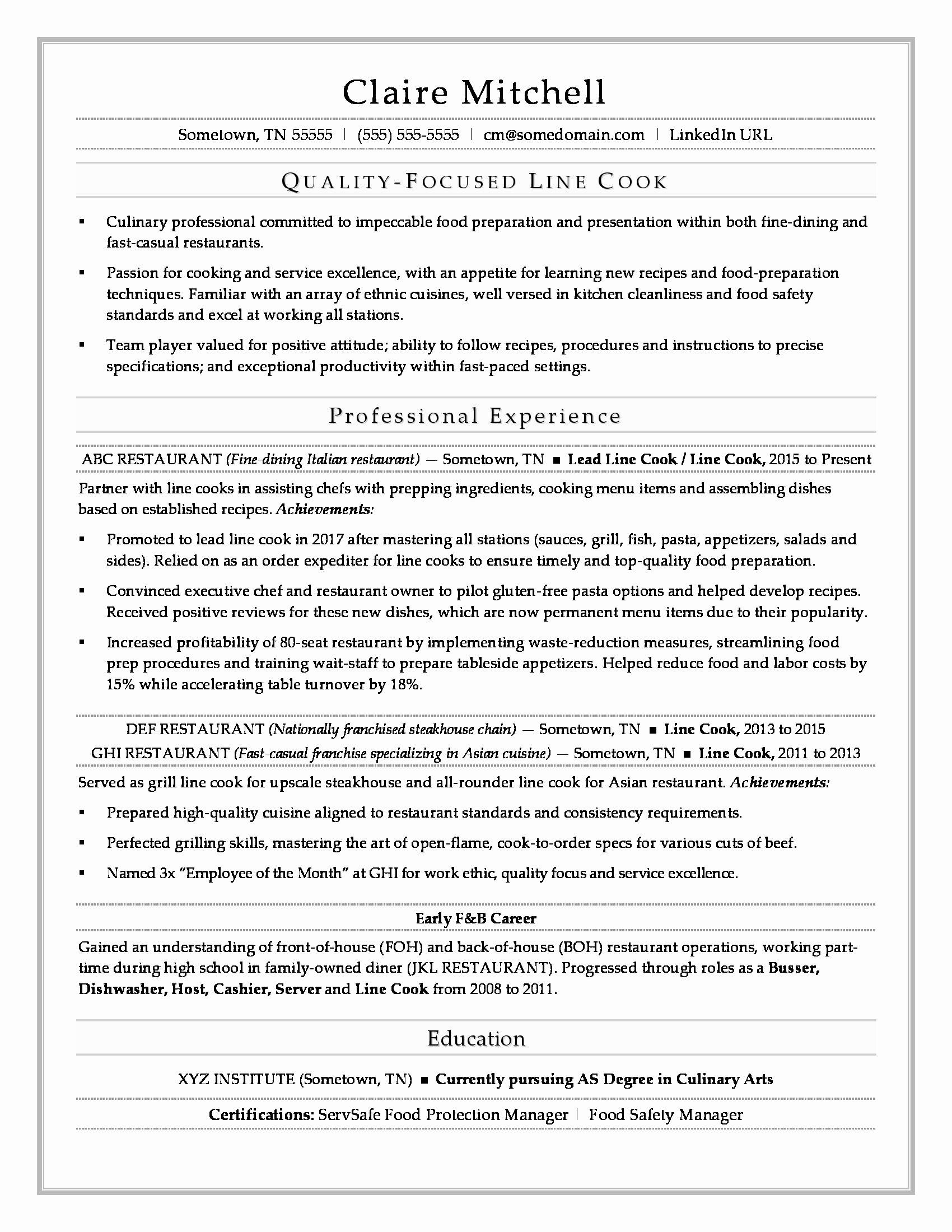 line cook resume example new line cook resume sample