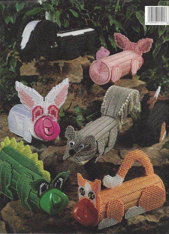 Freshener Pets In Plastic Canvas - Leisure Arts #1521 - Plastic Canvas Pattern, Pig, Squirrel, Bunny Rabbit, Dragon, Cat, Dog, Skunk #airfreshnerdolls