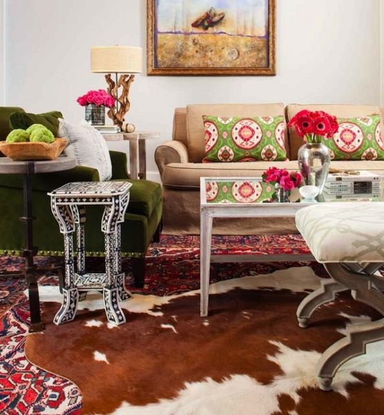 Eclectic Family Room With Custom Textiles, Cow Hide Rug