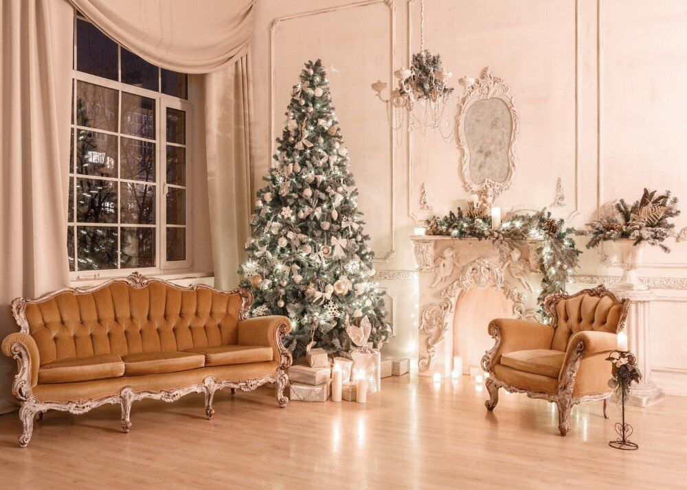 Capisco Christmas Tree Candle Armchair Scene Baby Photography Backgrounds Customized Photo Christmas Decorations Living Room Christmas Tree Candles Candle Tree Christmas tree living room background