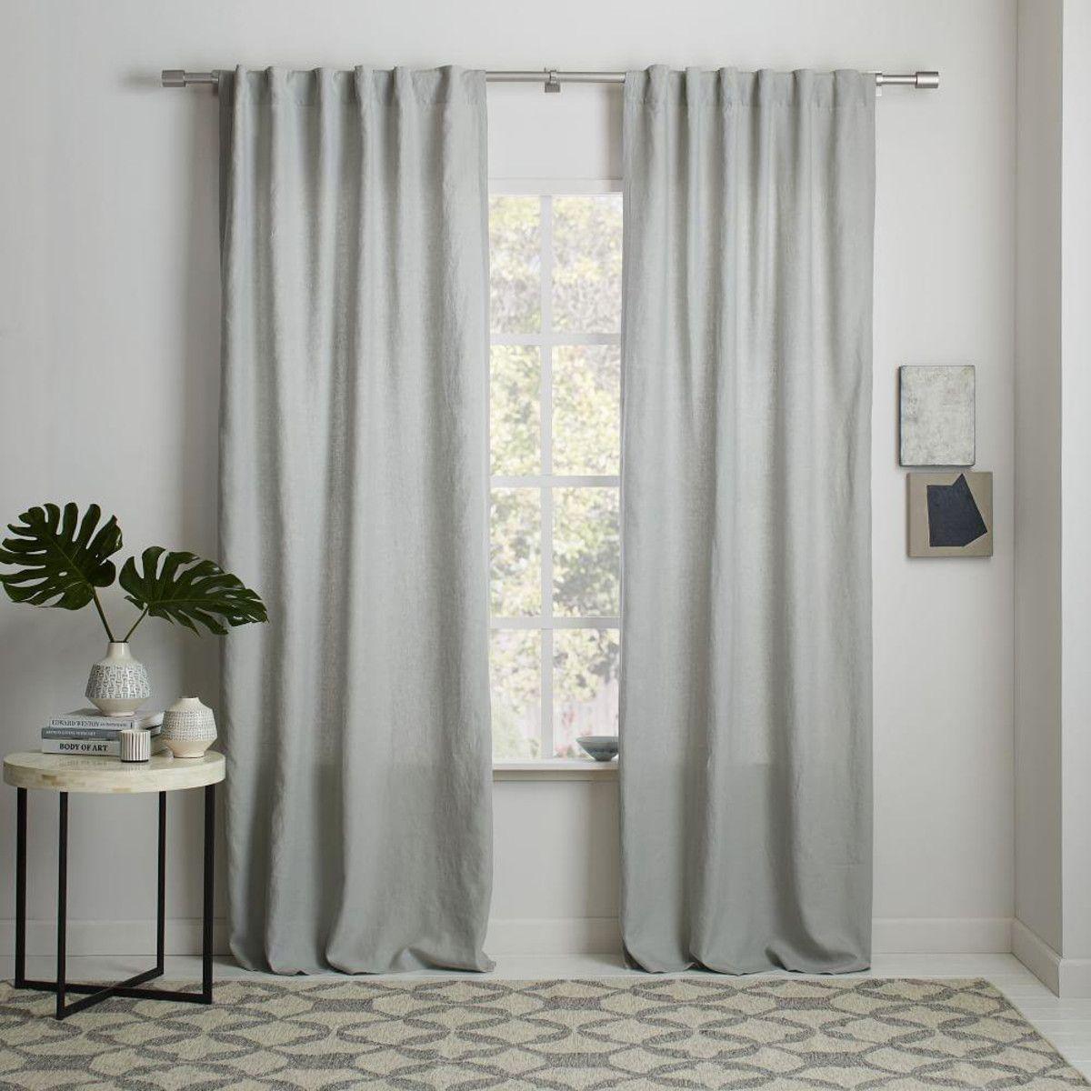 Belgian Flax Linen Curtain Blackout Lining Platinum West Elm