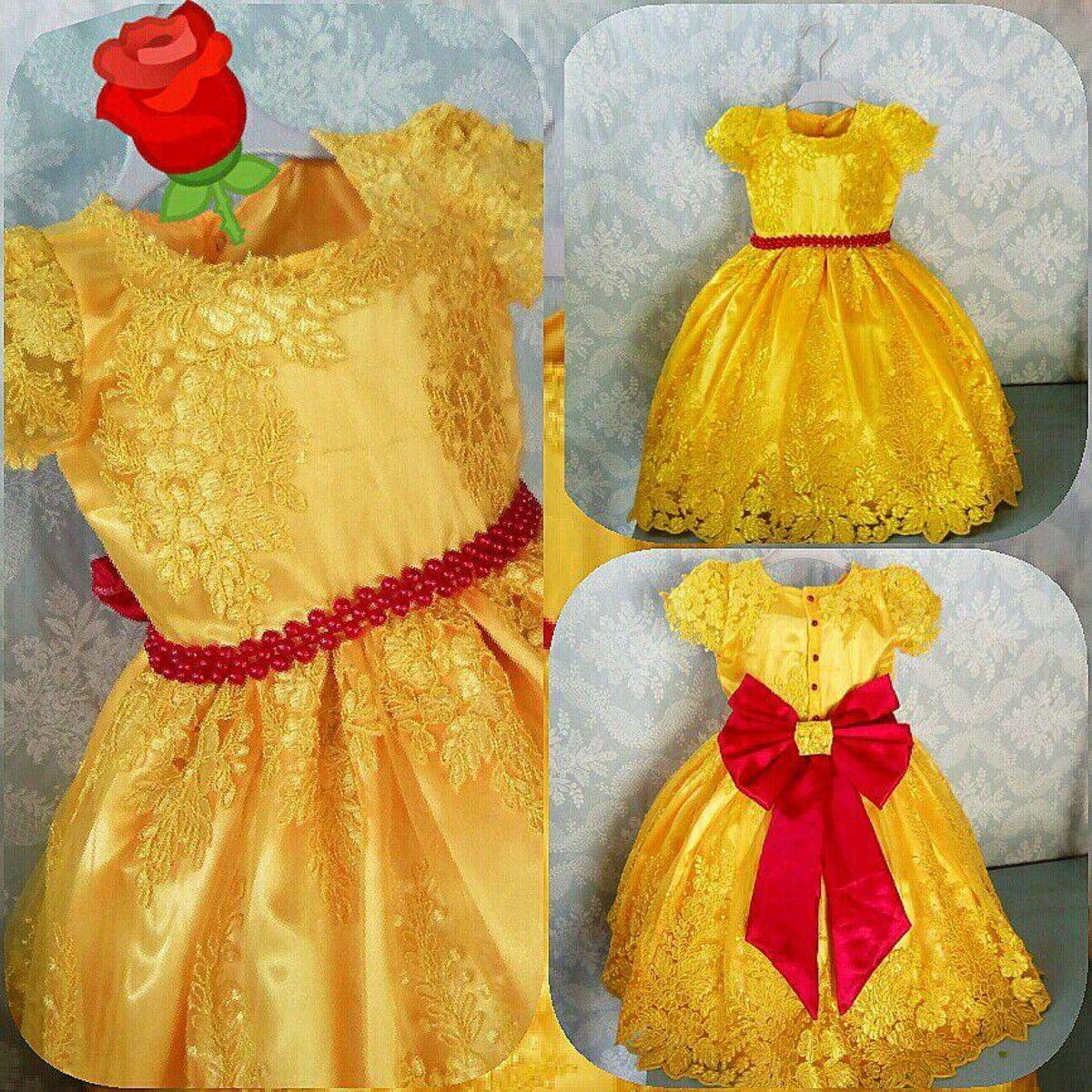094699ae65d Vestido infantil festa luxo bela e a fera no Elo7