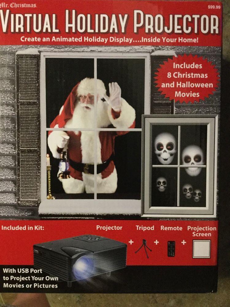 Virtual holiday projector Halloween And Christmas Animated
