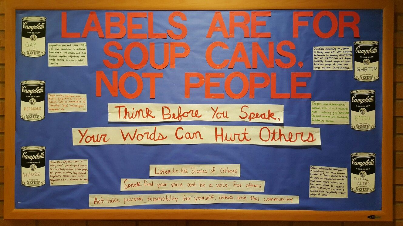 Labels are for soup cans not people Bellarmine