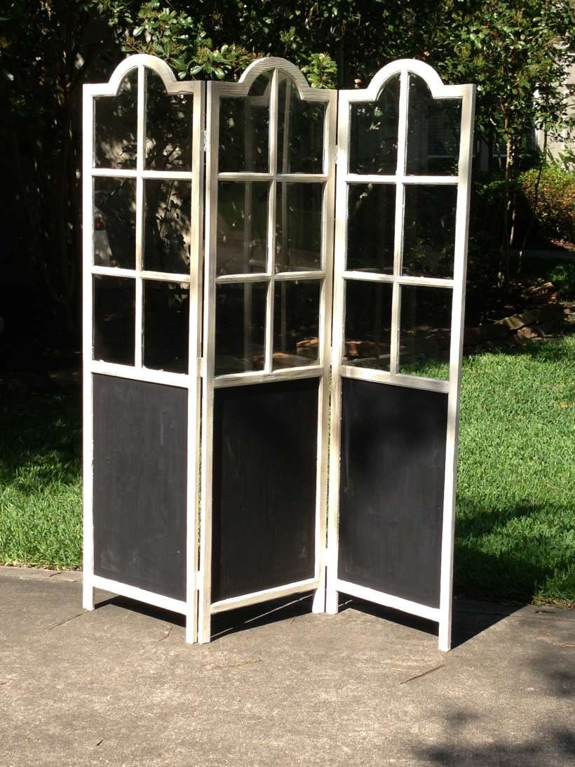 Window decor for wedding  rent some vintage glass paneled and chalk board trifold screen