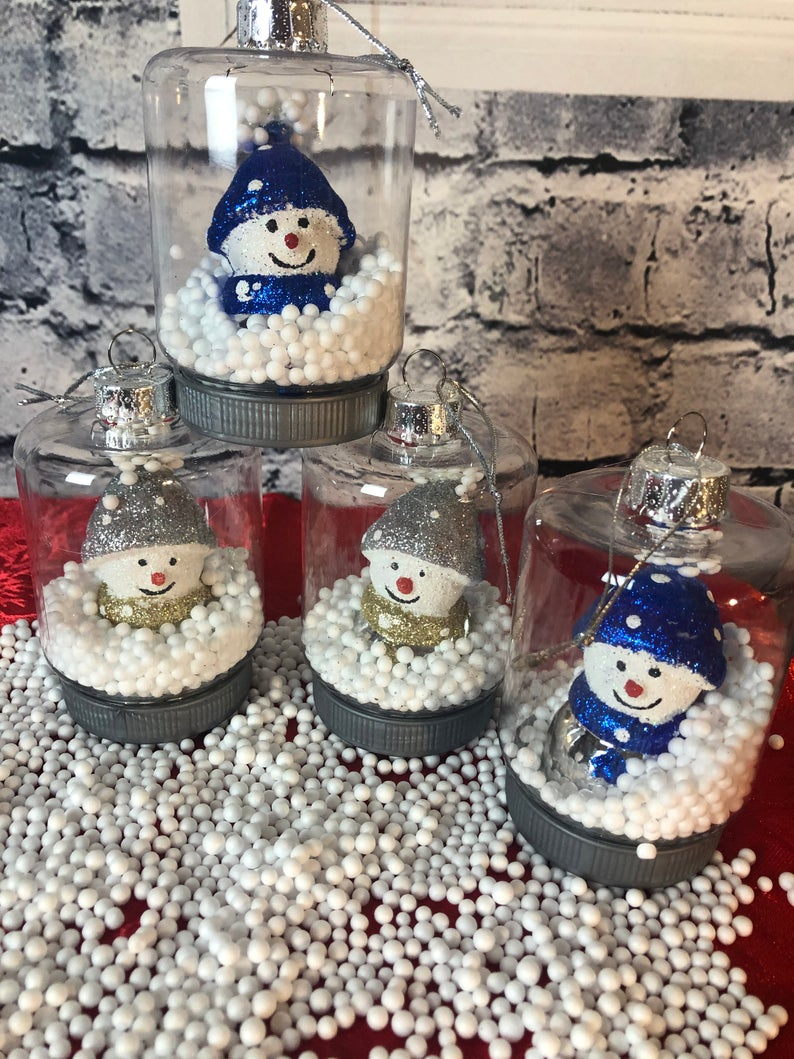 Blue Silver And White Snowman Christmas Tree Ornaments 2 Piece Etsy Snowman Christmas Tree Christmas Glitter Ornaments Christmas Snowman