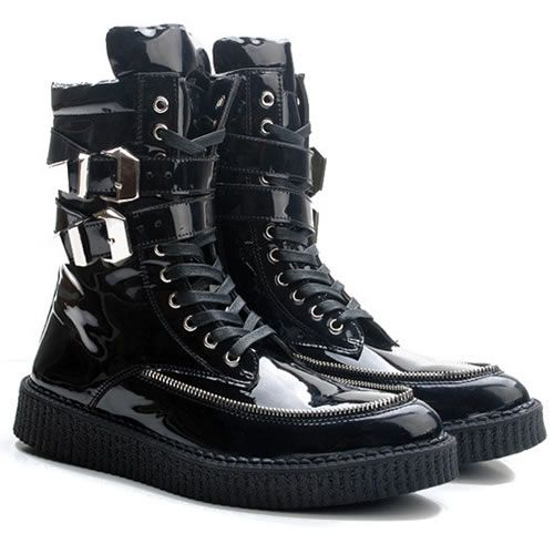 Men Black Patent Leather Lace Up Pointy Cyber Goth Fashion Ankle Boots SKU-1280044