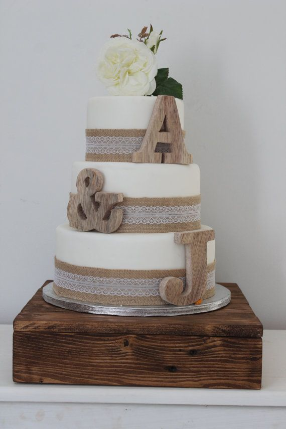 Personalised Wooden Wedding Cake Topper Initials Creative Cakes