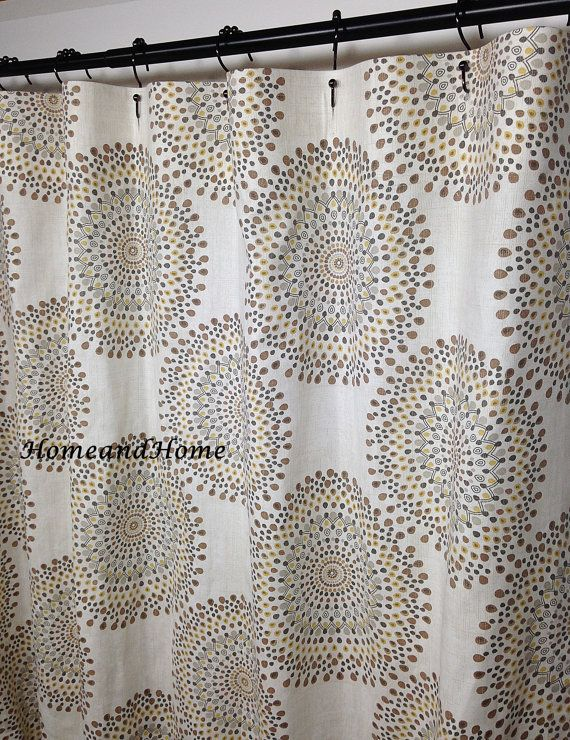 Fabric Custom Shower Curtain Carousel Sand Colors Ivory Brown
