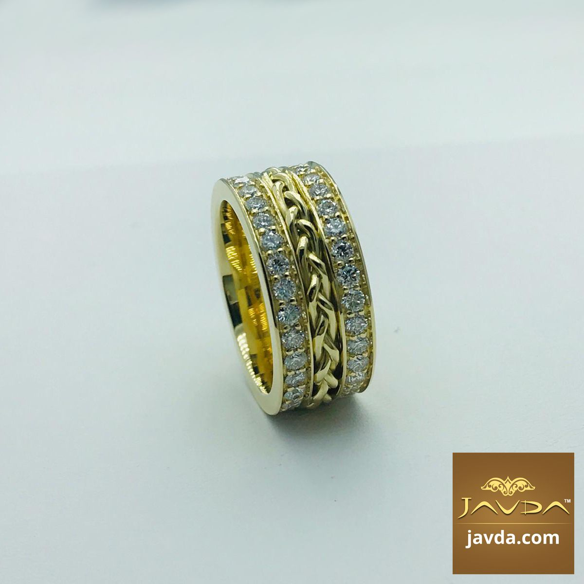 Braided Diamond Eternity Men S Wedding Band In 14k Gold 0 57ct