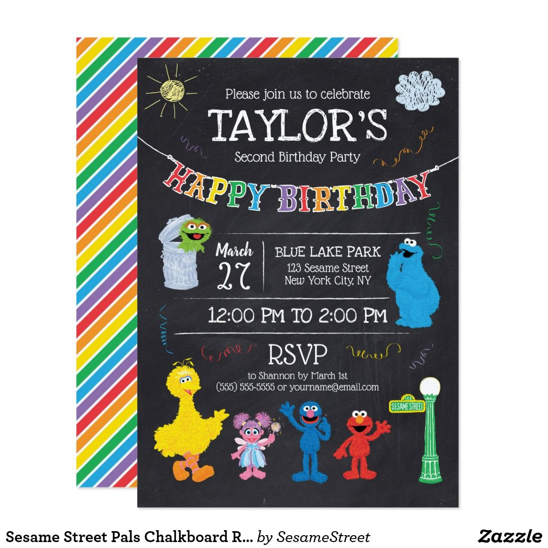 Sesame Street Pals Chalkboard Rainbow Birthday Invitation ...