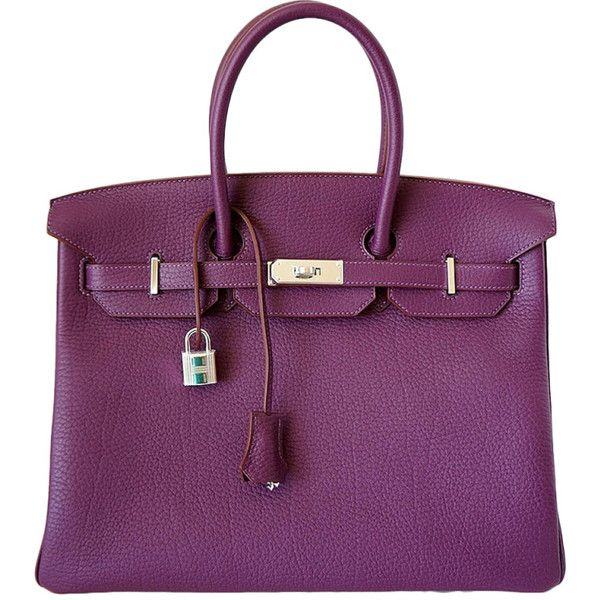 Hermes Birkin 35 Bag Cassis Fjord Leather Palladium Hardware 23 400 Liked On Polyvore