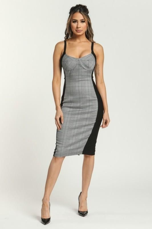 6584cf7dcf5 Plaid Front Body-con Dress