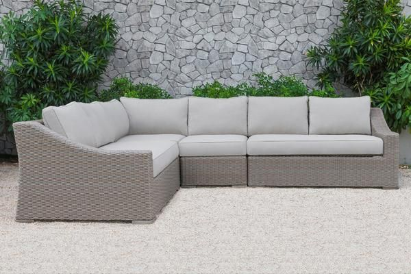 Renava Pacifica Outdoor Beige Sectional Sofa Set Poly Rattan Wicker