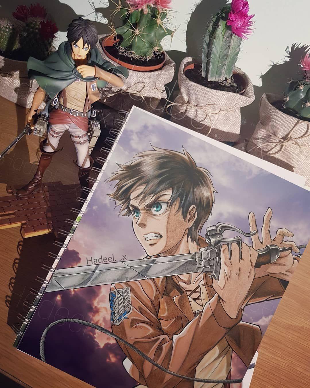 رسمة ايرين ييغر استخدمت فيها الوان بروماركر و فوقها الوان فايبر كاستل دمج خلفيه ايش افضل شخصية بالنسبة لكم من هجو Art Character Zelda Characters