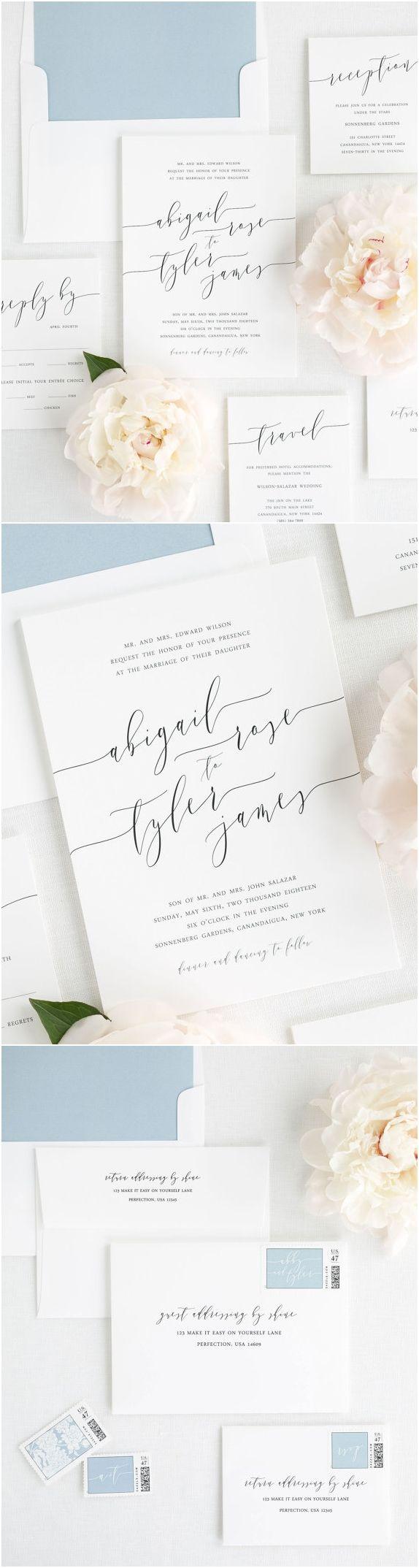 Romantic Calligraphy Wedding Invitations Deposit