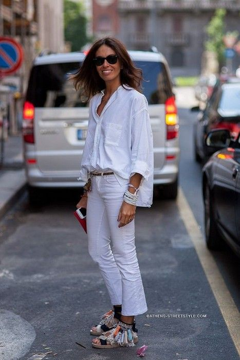 Photo of Viviana Volpicella in effortless summer look WHITE we never go wrong.