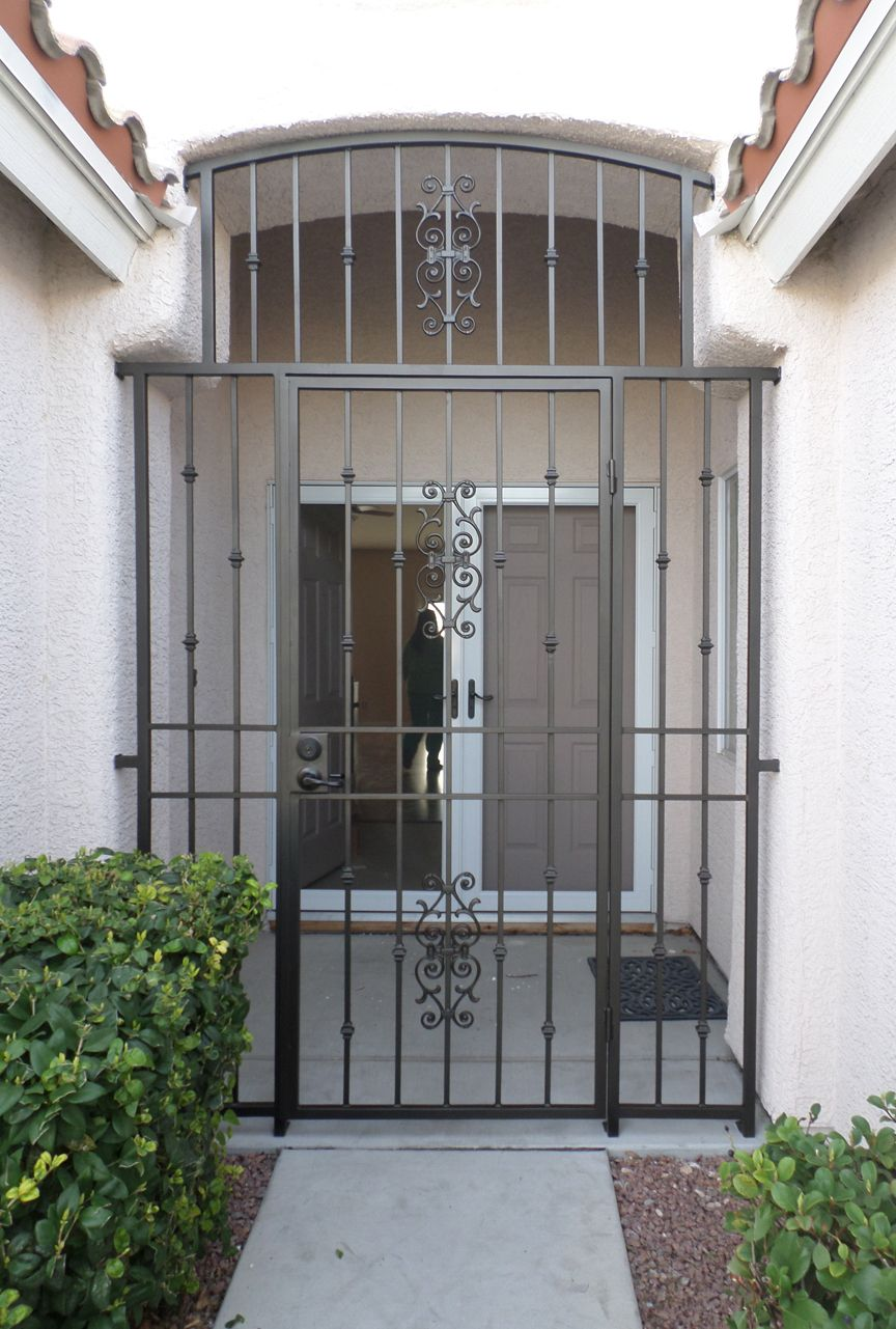 Wrought iron entry gate entryways