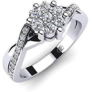 Moncoeur Damen Ring Rose Verlobungsring 925 Sterling Silber Mit