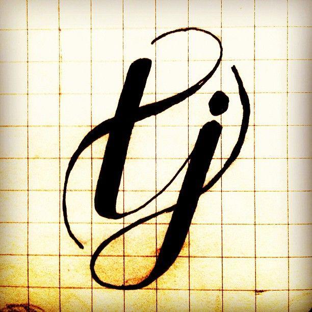 "{still} Brainstorming a ""tj"" logomark. __ Hand Lettering by [ts]Christer"
