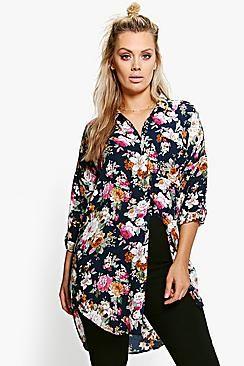 Plus Jamie Floral Oversize Shirt