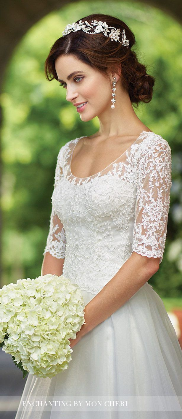 Bridal trends lace illusion sleeves with mon cheri bridals