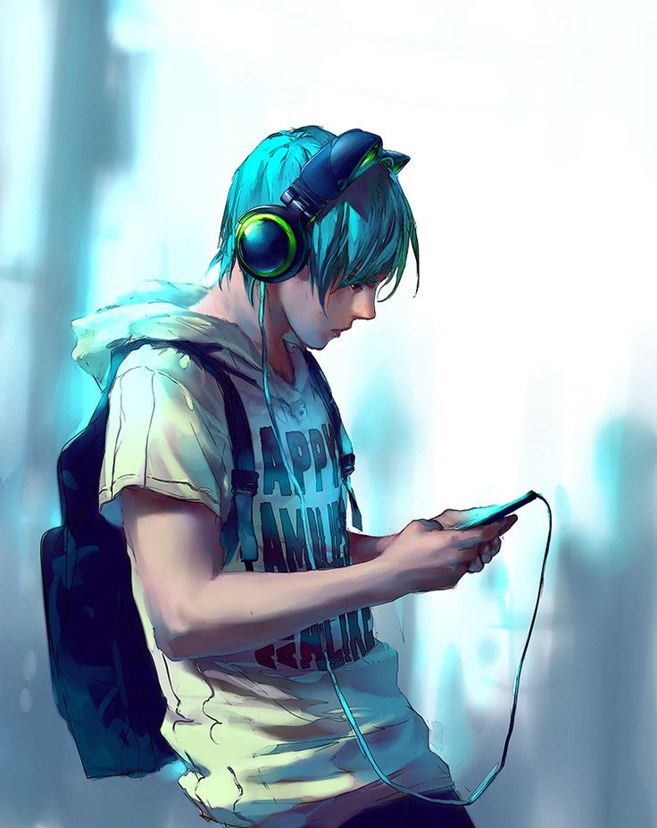 anime guy with headphones - google