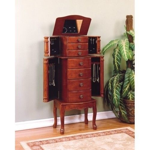 Armoire Box Chest for Jewelry Storage with Mirror Drawers Cherry Finish Antique