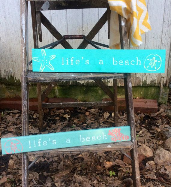 Life's a Beach wood sign wood pallet. Ready to hang. Perfect beach house decor, nautical, beach lover