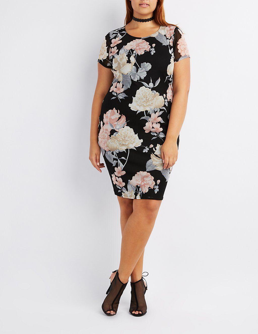 dac8a3218bd Plus Size Floral Mesh Bodycon Dress