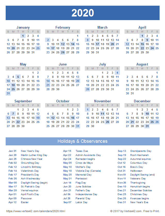 Download A Free Printable 2020 Calendar With Holidays From Vertex42 Com With Images Holiday Calendar Printable Calendar Printables Calendar Template