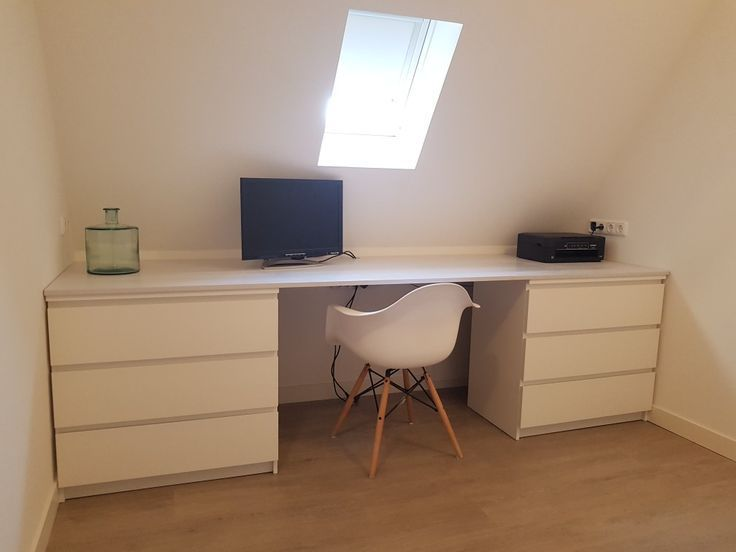 Bureau onder schuin dak (-Ikea Malm-) (-Eames D... - #arbeitsplatz #Bureau #d... - My Blog #ikeaideen