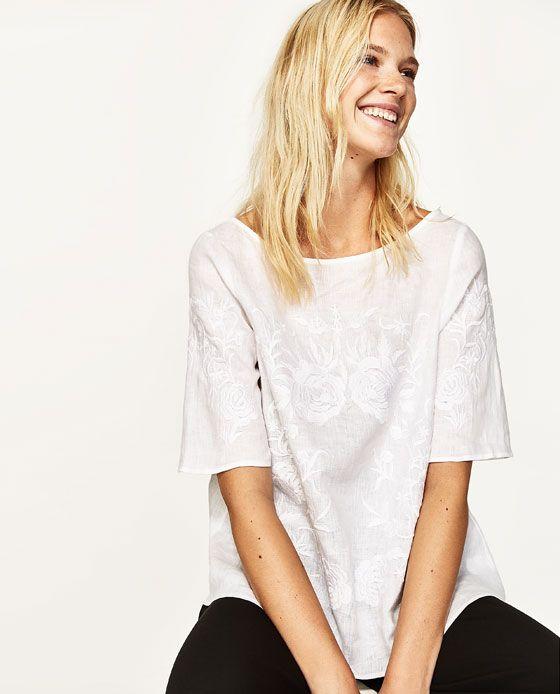 tee shirt lin femme zara