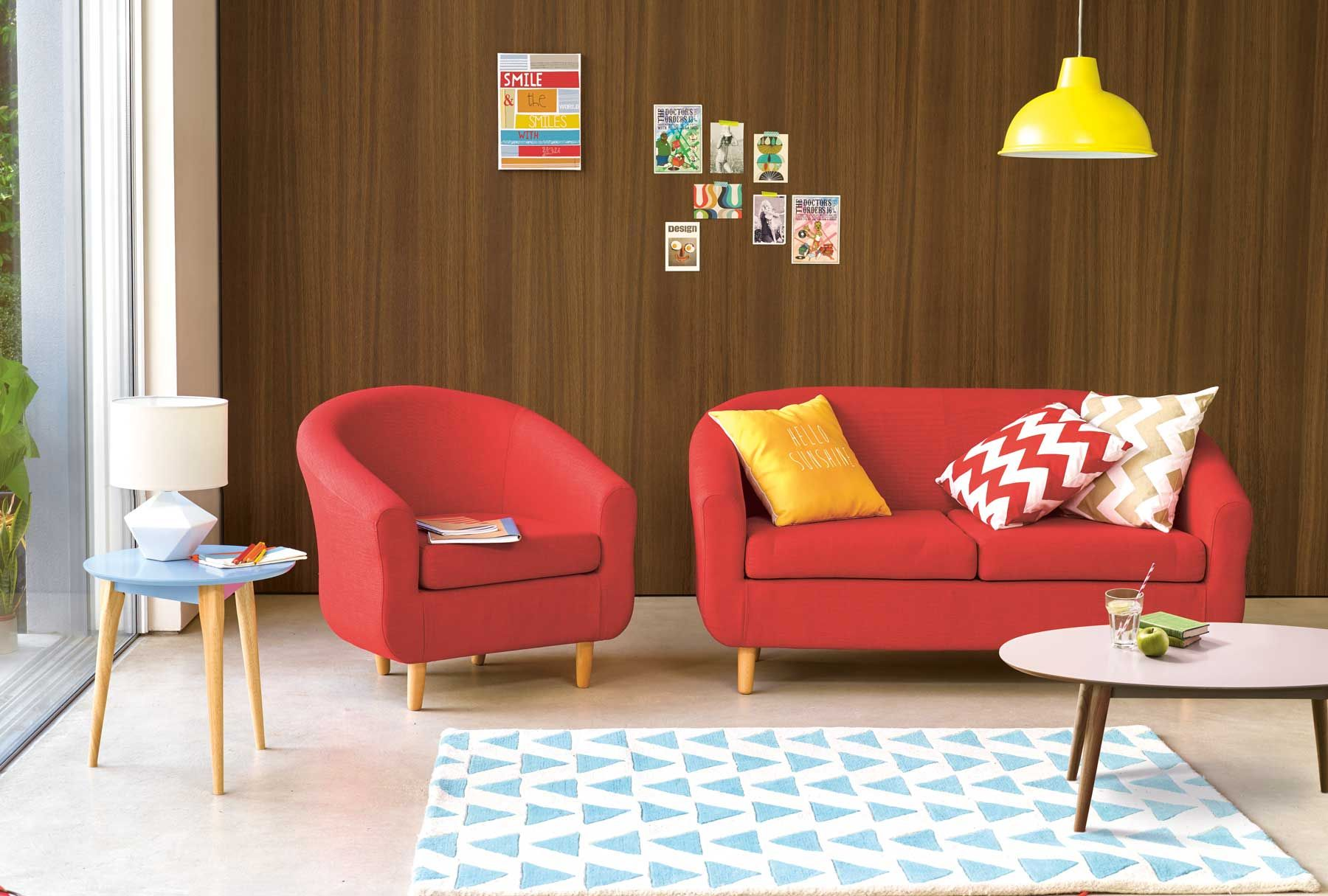 Midcentury Modern Retro Living Area Red Sofa Armchair Geometric Carpet Yellow Cushion