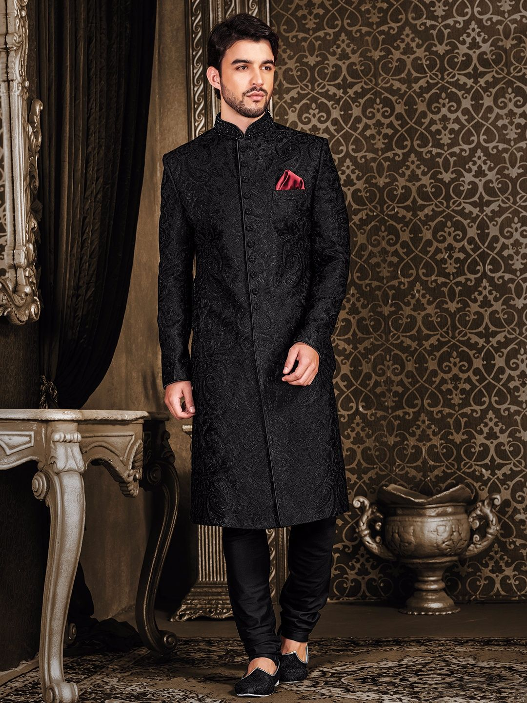 42d038176a Shop Black terry rayon classy sherwani online from G3fashion India. Brand -  G3, Product code - G3-MSH0501, Price - 21095, Color - Black, Fabric - Terry  ...