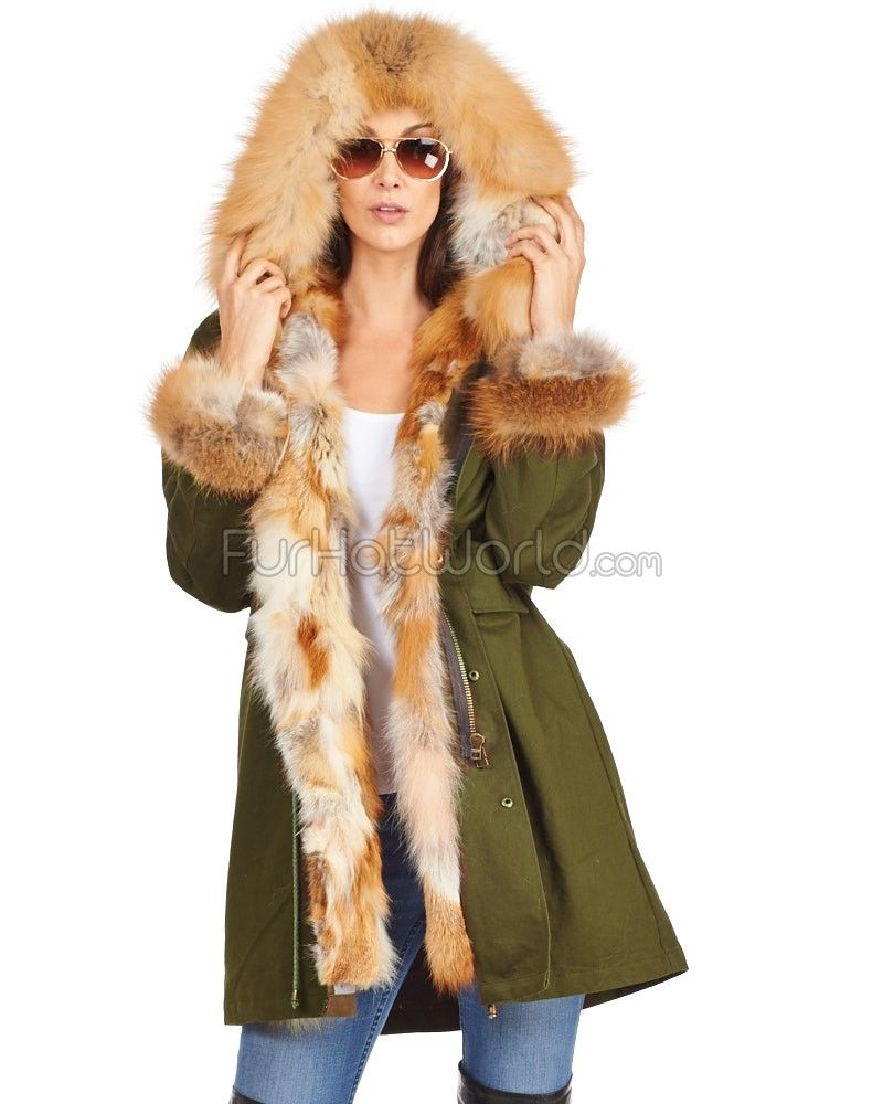 The Sergeant Red Fox Fur Lined Military Parka with Fur Trim ...